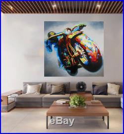 120cm Vintage Motorbike Australia cafe racer bike oil painting art by pepe