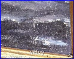 13391/ Vintage Oil Painting On Canvas Seascape with Ship Nautical Signed