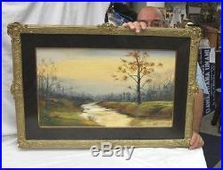 1800 vintage landscape oil painting sign earnest rinker