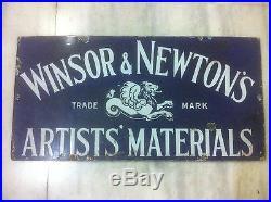 1900s WINSOR & NEWTON ARTIST WATERCOLOUR OIL PAINT BRUSH VINTAGE PORCELAIN SIGN