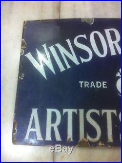 1900s WINSOR & NEWTON ARTIST WATERCOLOUR OIL PAINT STORE VINTAGE PORCELAIN SIGN