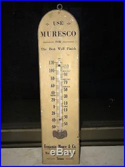 1910s BENJAMIN MOORE MURESCO PAINTS VINTAGE THERMOMETER WOODEN SIGN NT PORCELAIN