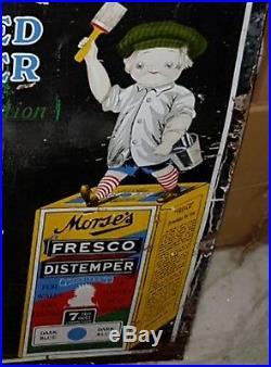 1920s PIG BOY ARTIST MORSE'S FRESCO DISTEMPER VINTAGE PAINTS PORCELAIN SIGN