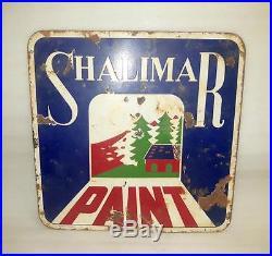 1930's Vintage Old Collectible Shalimar Paint Ad Porcelain Enamel Sign Board