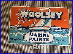 1940's Vintage Porcelain 34 x 22 Woolsey Marine Paints Company Enamel Sign