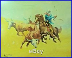 1949 Vtg Western Cowboy Artist Watercolor Titled Cattle Rustler Signed Lutzow