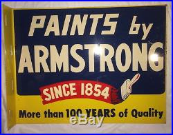 1950's Vintage Armstrong Paints Flange Metal Sign. Double Sided