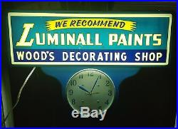 1950s LUMINALL PAINTS Electric Lighted Wall ClockVintage Advertising Sign