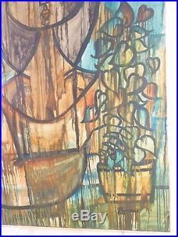 1957 LYRICAL ABSTRACT MODERNIST OIL PAINTING Vintage Mid Century Modern Signed