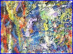1960 ABSTRACT EXPRESSIONIST ACTION PAINTING VINTAGE MID CENTURY MODERN Signed