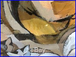 1960's Vintage CATS & Vases Modern MCM Oil Painting by Listed Artist Kay Steppan