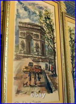 1960s Vintage SIGNED Print ARNO French Watercolor Painting Arc de Triumph Paris