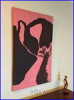 1960s Vintage artist signed Abstract Painting Mid Century Modern