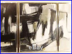 1962 VINTAGE ABSTRACT EXPRESSIONIST ACTION OIL PAINTING Mid Century Signed
