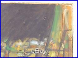1962 Vintage ABSTRACT EXPRESSIONIST NONOBJECTIVE OIL PAINTING MID CENTURY Signed