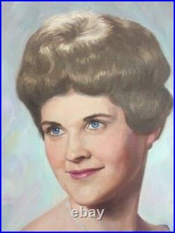 1965 ORIGINAL Oil Painting Portrait of Woman Lady by Wanamaker Philadelphia