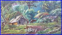 1966 VINTAGE PAINTING Rubens Sacramento SIGNED BRAZIL FRAME Island Tropical