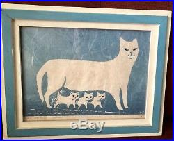1968 Thomas Stell Cat Print PROUD MOTHER Signed Mid Century Woodblock Framed