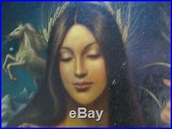 1970 Vintage Becerra Painting Surreal Madonna What Icon Portrait Woman Model