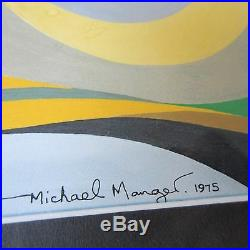 1970's Michael Mangel Painting Abstract Non Objective Cubism Expressionism Vntg