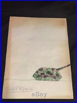1973 Antique Original Japanese Geisha Vintage Drawing Signed V. Rhodes