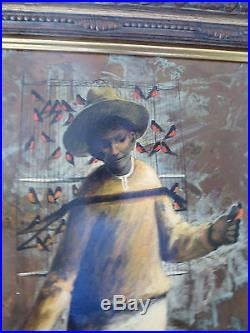 1974 Vintage A. Morales R. Mexican Artist Original Signed Painting Man with Birds