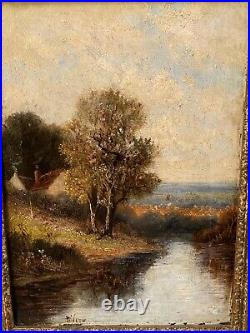 19th C. Oil Painting Canvas Signed Wilson Cottage Stream Forest Scene Gilt Frame