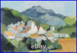 20thC SWEDISH SIGNED OIL BLOCK COLOUR MOUNTAIN LANDSCAPE WITH FIGURES