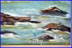 24 Vintage Acrylic Painting on Canvas Seascape Furious Sea Signed R. WADE