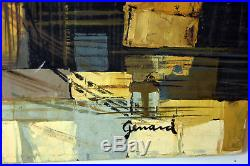 24 Vintage Oil Painting Canvas Signed GERARD Old Town View Boat & Bridge