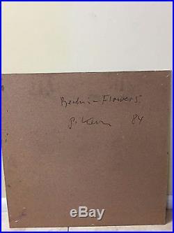 24x24 PETER KEIL BERLIN FLOWERS VINTAGE & SIGNED PAINTING 1984