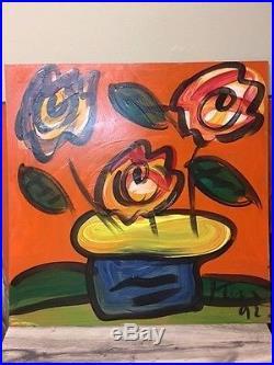 24x24 PETER KEIL Nice Flowers VINTAGE & SIGNED PAINTING 1992