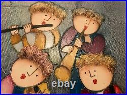 2 ORIGINAL, SIGNED Joyce Roybal Oil on Canvas Paintings 4 Musicians Vintage Art