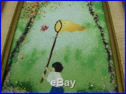 2 VTG Louis Cardin Signed Enamel Copper Paintings Boy Boat Girl Butterfly 1980