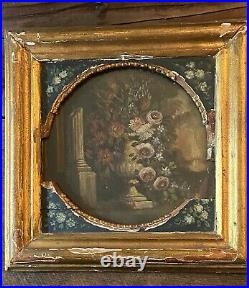 2 Vintage Framed Oil On Board Floral Paintings In An Old Gilt Frame 12x12