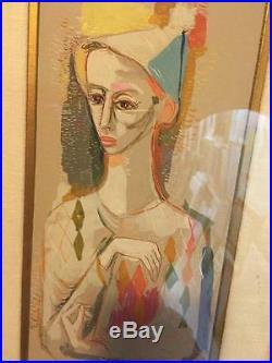 2 Vintage Mid Century Modern Painting Listed African American Artist Fred Jones