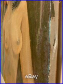 2 Vintage Original Paintings of Nude Hawaiian Women Tiki 20x24 Signed Geo Mason