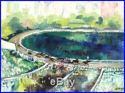 30x22 Vintage Signed Original Oil Painting Horse Race Mid Century Modern Detroit