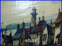 36 Mid-Century Modern Signed GERARD Marine Boats Harbor Oil Painting on Canvas