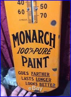 39 Vintage Monarch Paint Porcelain Enamel Dealer Advertising Thermometer Sign