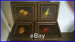 4 Original Vintage Still Life Oil Paintings Fruit Apple Lemon Orange Pear Signed