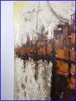 50x42 Vintage Mid Century Modern Original Abstract Oil Painting Orange Etta 60's