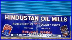 72 RAILWAY SIGNAL PAINTS VINTAGE PORCELAIN ENAMEL SIGN 1930s HINDUSTAN OIL MILL