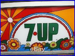7up Vintage 1970's reverse painted cooler soda machine sign Peter Max style