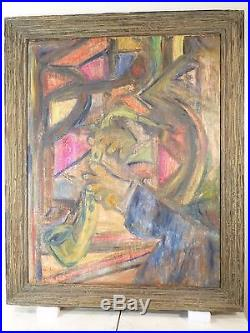 ABSTRACT EXPRESSIONIST OIL PAINTING Vintage Mid Century LISTED Signed c. 40s JAZZ