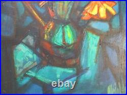 ALBERTO VELA Early Modernist CUBIST CUBISM ABSTRACT FLORAL 1960'S Painting VNTG
