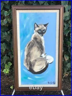 ANN GOODWIN Original 1963 MID CENTURY MODERN VINTAGE SIGNED OIL ON CANVAS Cat