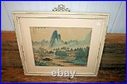 ANTIQUE Signed Japanese Painting on Silk Landscape Village Chinese Asian Art VTG