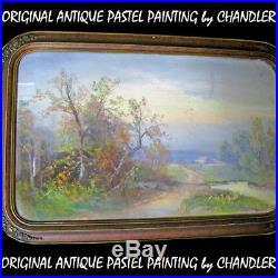 ANTIQUE VINTAGE Old ORIGINAL SIGNED Master PASTEL ART PAINTING Artist CHANDLER