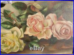 ANTIQUE VTG. 1900'S PINK &YELLOW ROSE FRAMED & SIGNED OIL PAINTING With ROSE HOOK